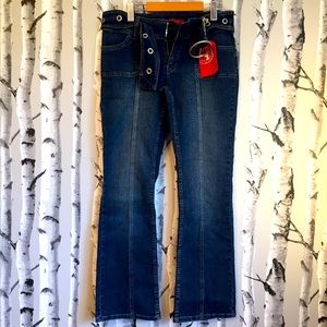 Hot Bottoms Blue Jeans with Belt Size 13